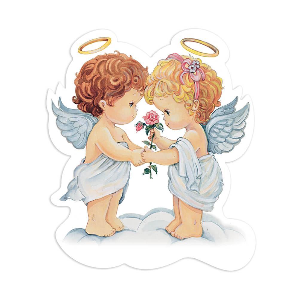 Victorian Angel Cherub : Gift Sticker Vintage Retro Religious Cute