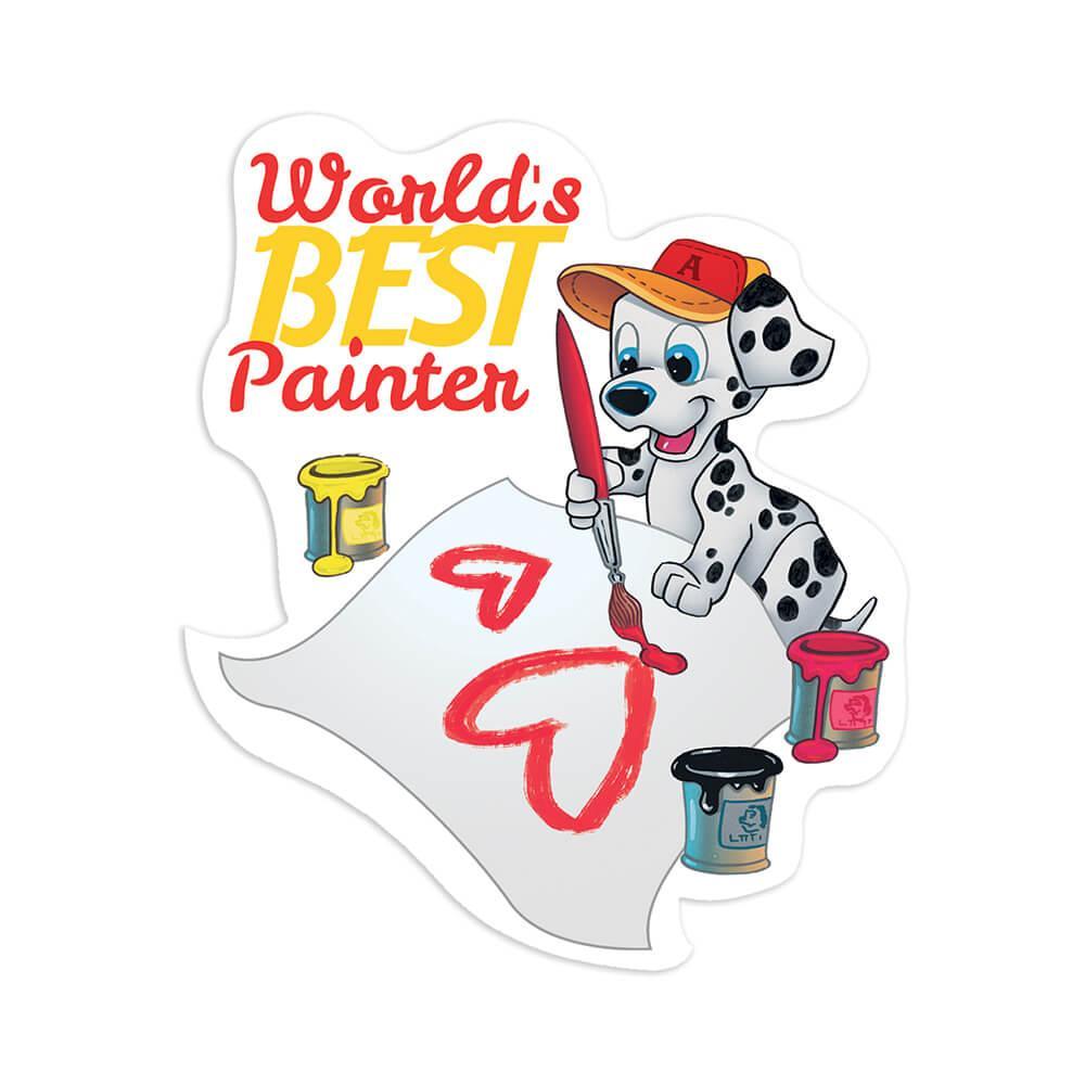 Dalmatian Cartoon Painter : Gift Sticker Dog Puppy Vintage Retro Pet Animal