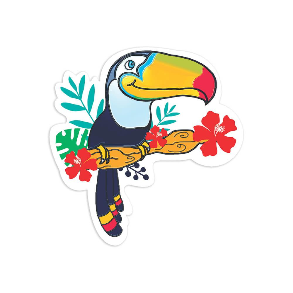 Toucan Graphic : Gift Sticker Bird Flowers Tropical Animal