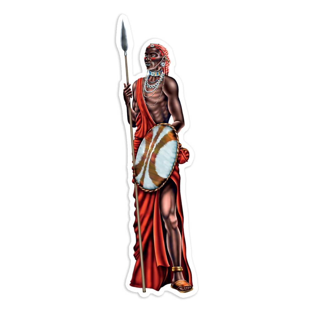 African Men Warrior : Gift Sticker Ethnic Art Black Culture Ethno Elephant