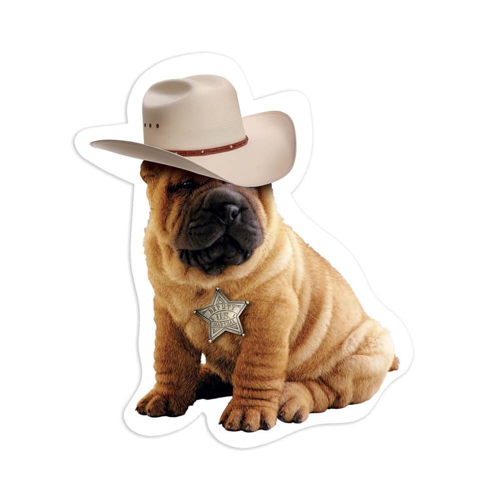 Sharpei Cowboy Hat : Gift Sticker Dog Country Rodeo Pet Funny Cute
