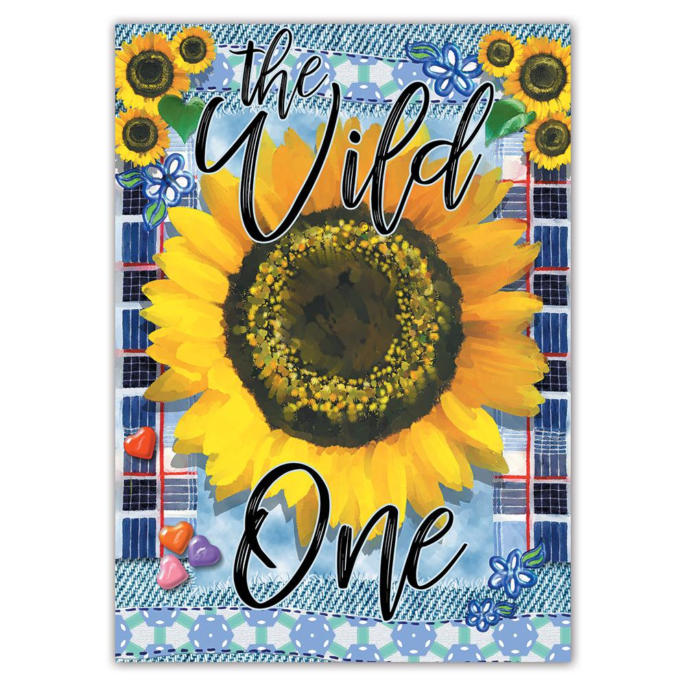 Sunflower The Wild One : Gift Sticker Flower Floral Yellow Decor Modern Heart Tartan