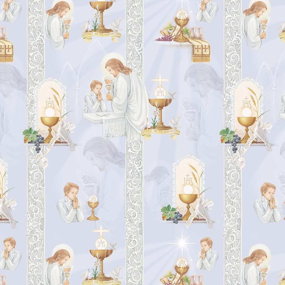 First Communion Boy : Gift 12″ X 12″ Decal Vinyl Sticker Sheet Pattern Jesus White Clothes Ornament Pattern Cup Dove Grapes Eucharist Ceremony Decor