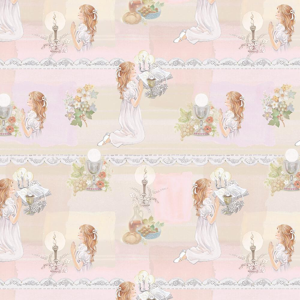 Girl On Knees : Gift 12″ X 12″ Decal Vinyl Sticker Sheet Pattern First Communion Ceremony Lace Pattern Chalice Bible Flowers Diy Invite