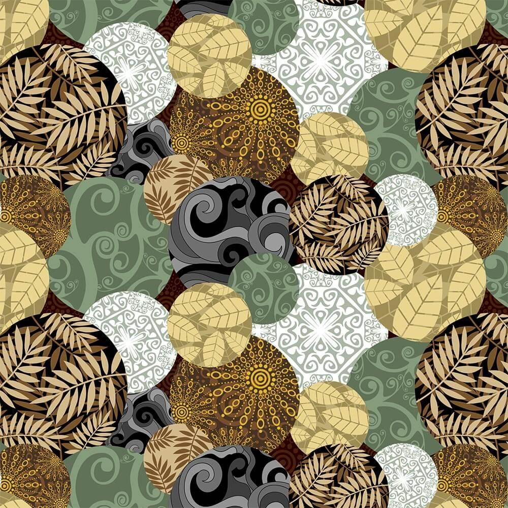 Leaves Patchwork : Gift 12″ X 12″ Decal Vinyl Sticker Sheet Pattern Mandala Tracery Fern Pattern Fabric Home Decor Vintage
