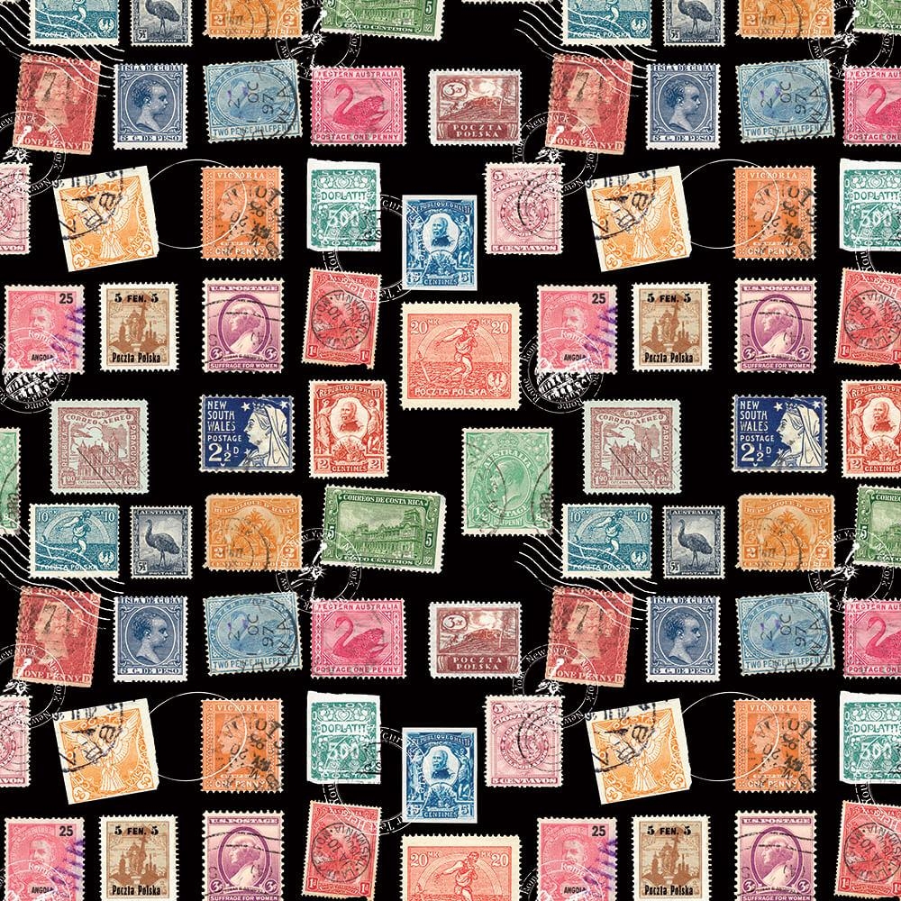 Vintage Stamps : Gift 12″ X 12″ Decal Vinyl Sticker Sheet Pattern Retro Pattern Travelling Post Office Brother Hobby Diy Art