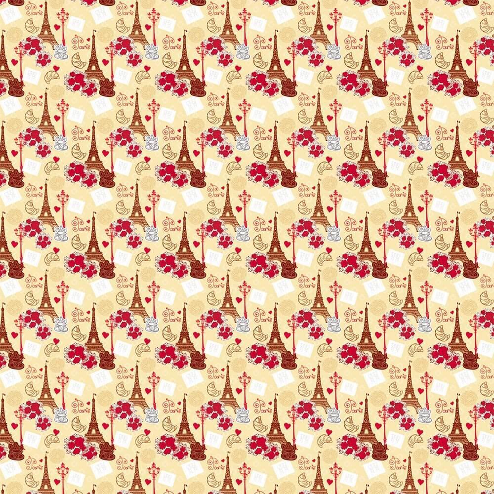 Vintage Paris : Gift 12″ X 12″ Decal Vinyl Sticker Sheet Pattern Romantic Travel Valentine Bouquet Floral Pattern Eiffel Tower Decor