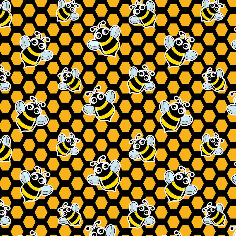 Cute Bees : Gift 12″ X 12″ Decal Vinyl Sticker Sheet Pattern Honeycomb Pattern Geometrical Child Wall Decor Diy Sweet Insect