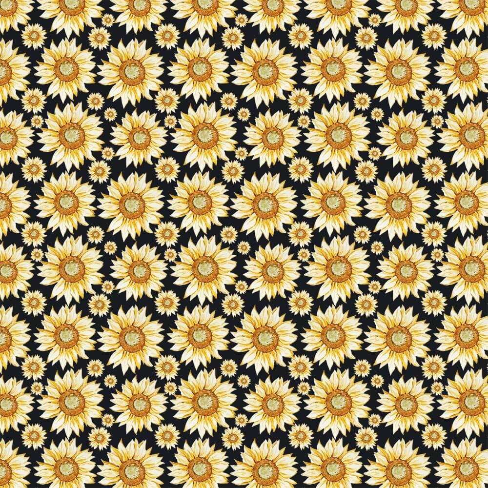 Repeatable Sunflower Pattern : Gift 12″ X 12″ Decal Vinyl Sticker Sheet Pattern Drawing Black Kitchen Cloth Decor Rustic Home