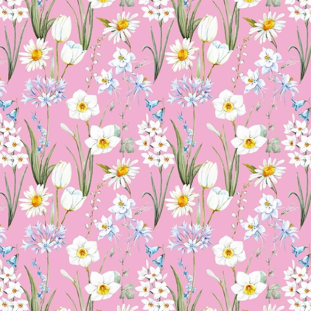 Spring Flowers : Gift 12″ X 12″ Decal Vinyl Sticker Sheet Pattern Bluebells Tulip Narcissus Pattern Communion Shower Home Decor Diy