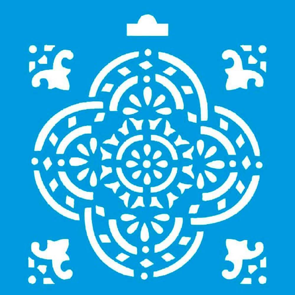 Mandala 4x4in : Diy Reusable Laser Cut Stencils 10x10cm Wood Tile Fabric Pattern