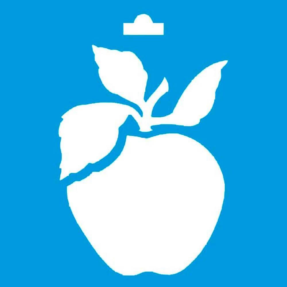 Apple 4x4in : Diy Reusable Laser Cut Stencil 10x10cm Fruits Wall Wood Fabric