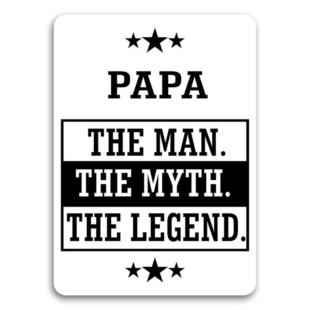 PAPA : Gift Sticker The Man Myth Legend Family Christmas Grandfather Grandpa Masculine For Him