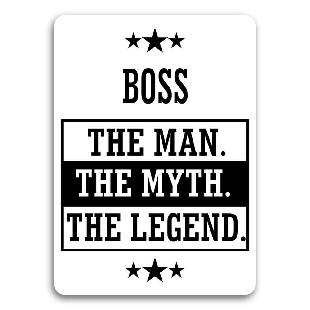 BOSS : Gift Sticker The Man Myth Legend Office Work Christmas