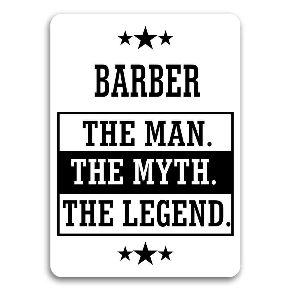 BARBER : Gift Sticker The Man Myth Legend Office Work Christmas