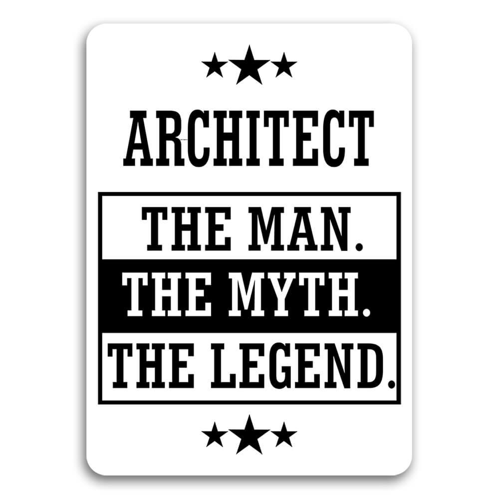 ARCHITECT : Gift Sticker The Man Myth Legend Office Work Christmas