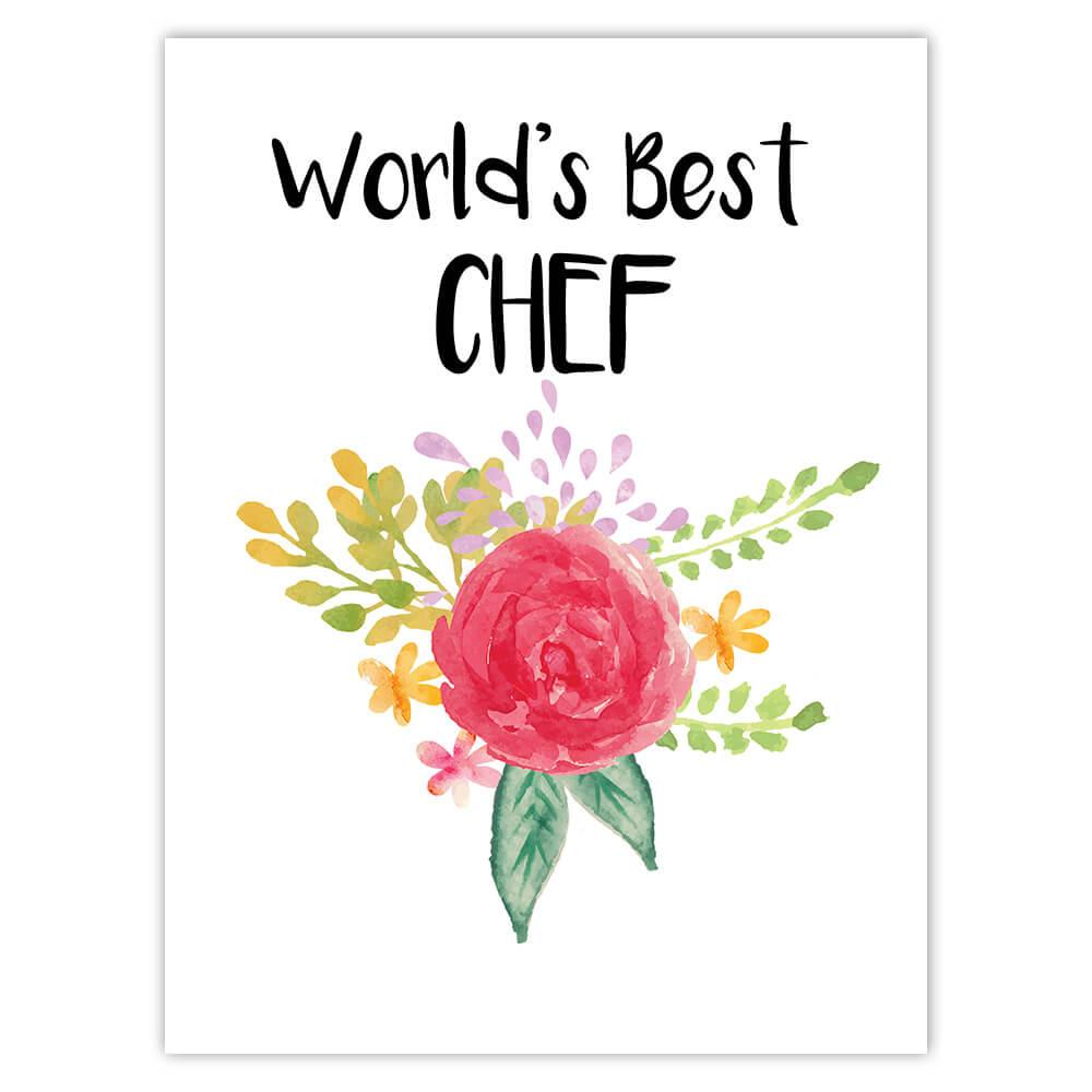 World's Best Chef : Gift Sticker Work Job Cute Flower Christmas Birthday