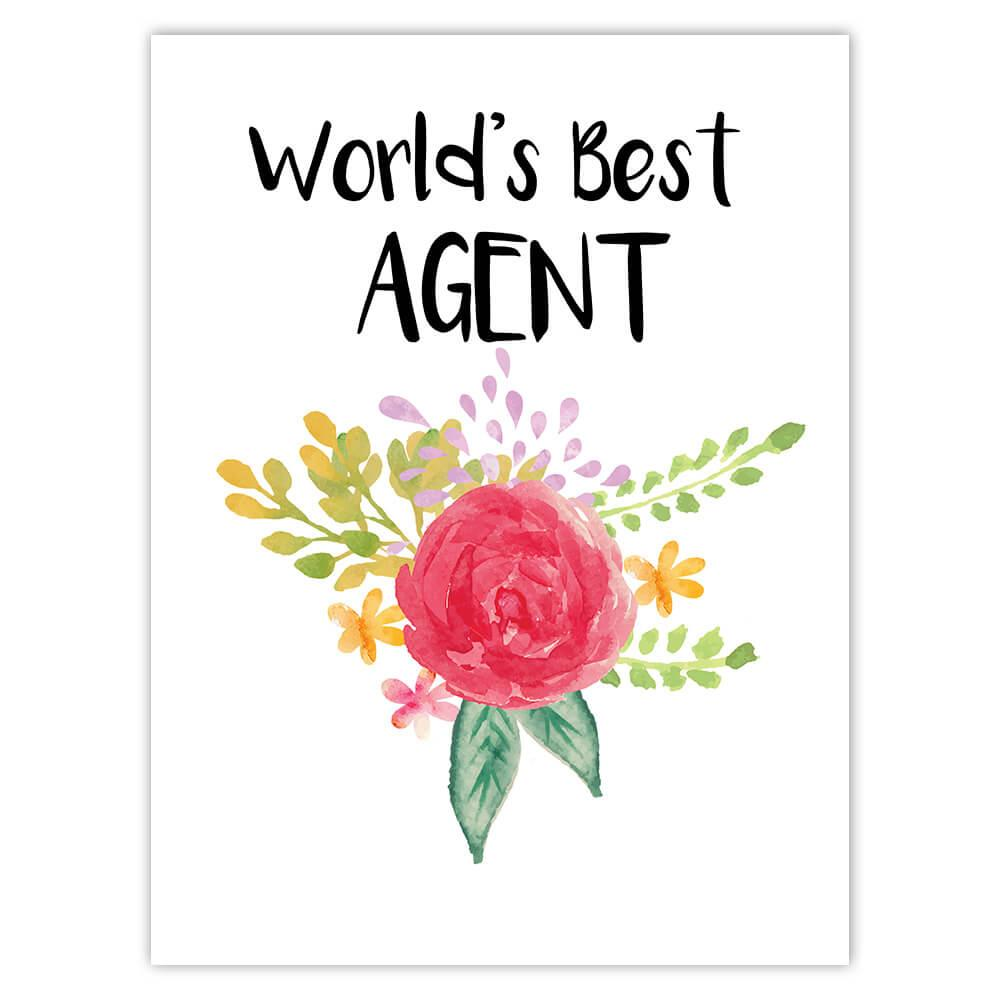 World's Best Agent : Gift Sticker Work Job Cute Flower Christmas Birthday