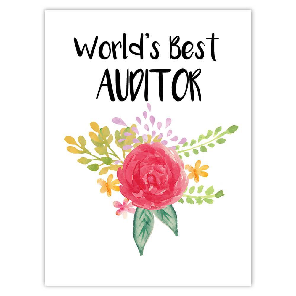 World's Best Auditor : Gift Sticker Work Job Cute Flower Christmas Birthday