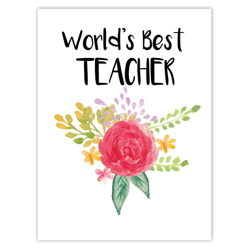 World's Best Teacher : Gift Sticker Work Job Cute Flower Christmas Birthday