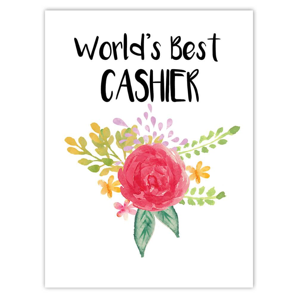 World's Best Cashier : Gift Sticker Work Job Cute Flower Christmas Birthday