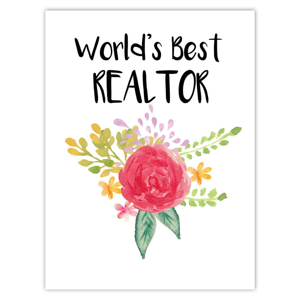 World's Best Realtor : Gift Sticker Work Job Cute Flower Christmas Birthday