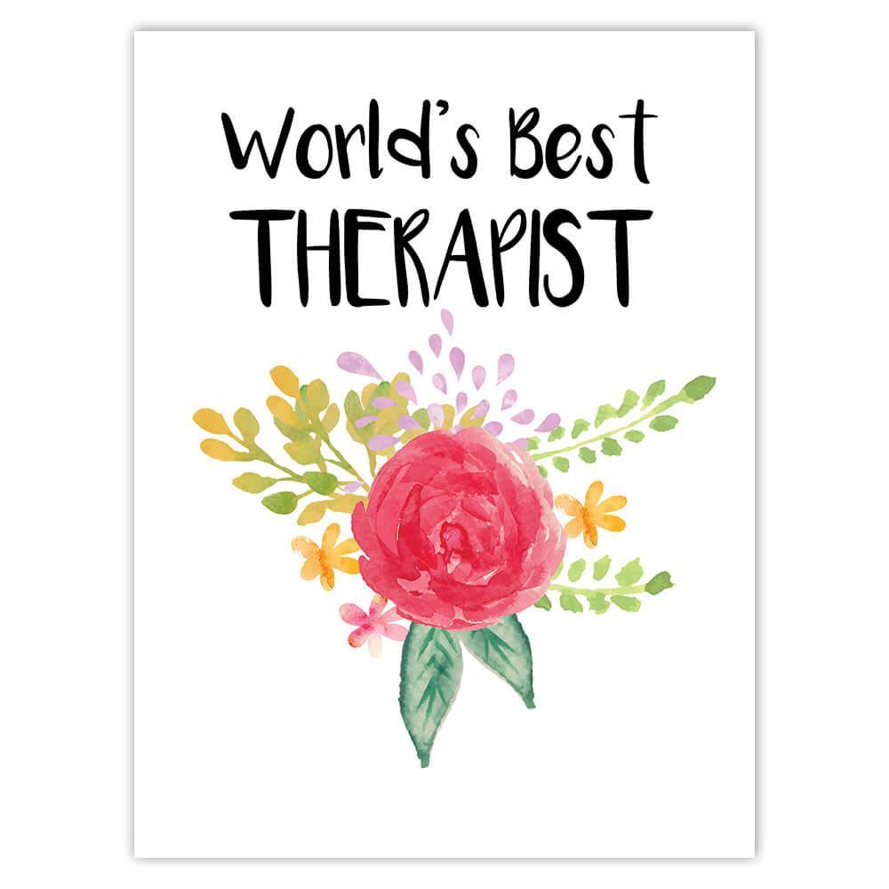 World's Best Therapist : Gift Sticker Work Job Cute Flower Christmas Birthday