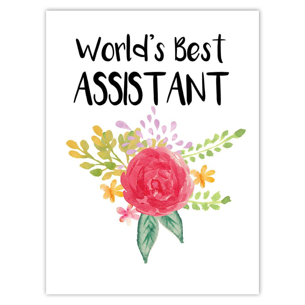 World's Best Assistant : Gift Sticker Work Job Cute Flower Christmas Birthday