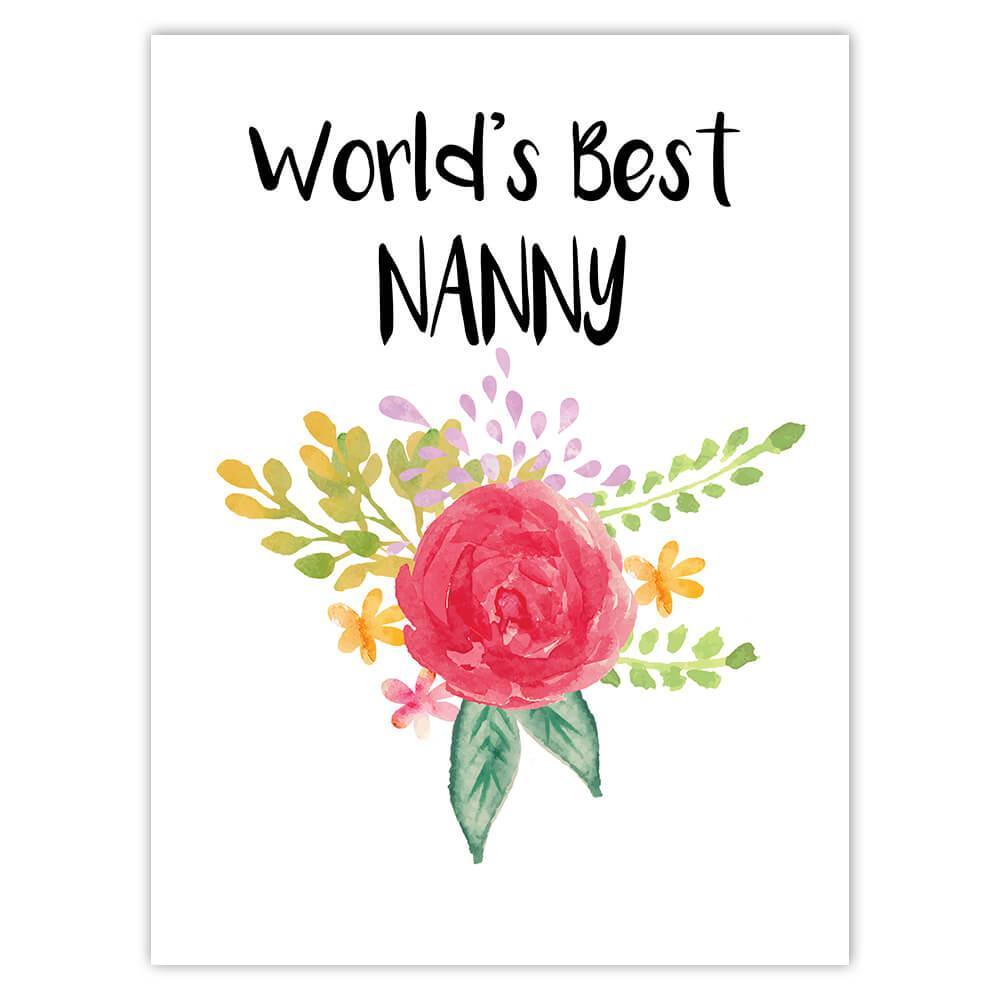 World's Best Nanny : Gift Sticker Work Job Cute Flower Christmas Birthday