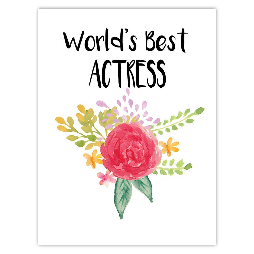 World's Best Actress : Gift Sticker Work Job Cute Flower Christmas Birthday