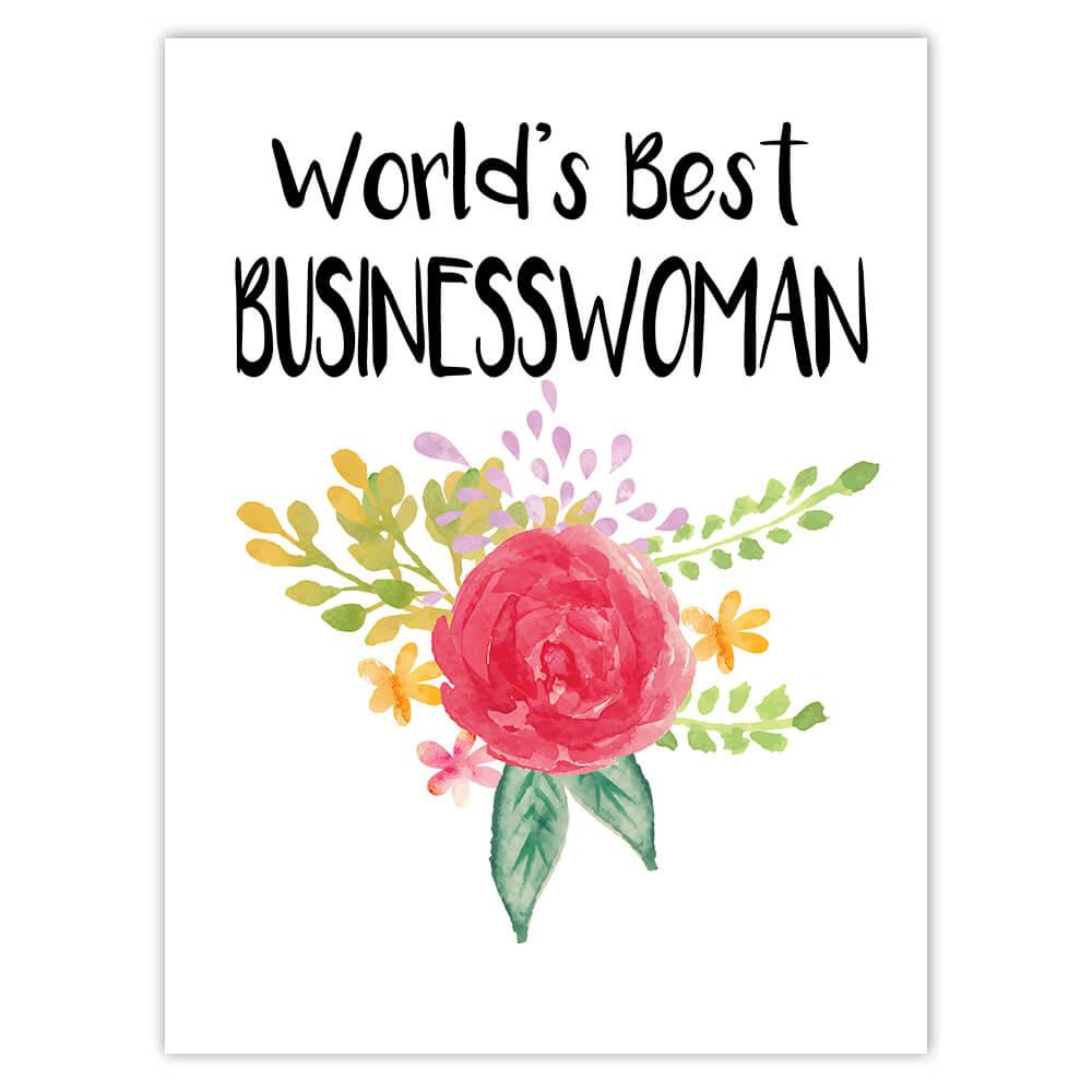 World's Best Businesswoman : Gift Sticker Work Job Cute Flower Christmas Birthday