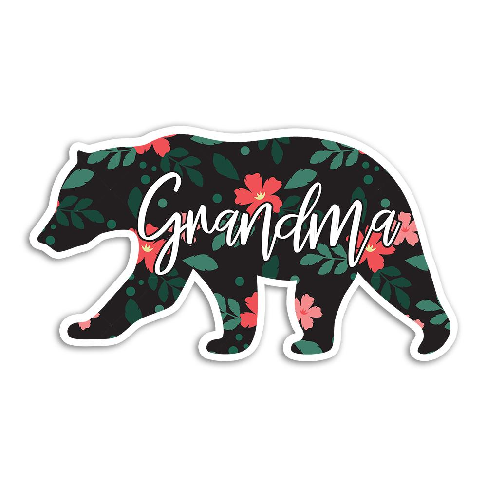 Grandma Bear : Gift Sticker Mothers Day Christmas Birthday Floral Flower Grandmother