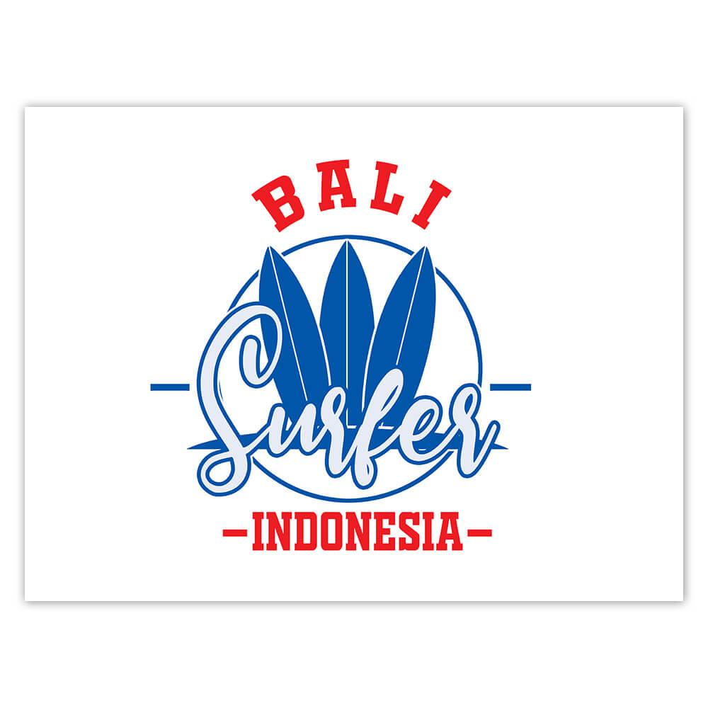 Bali Surfer Indonesia : Gift Sticker Tropical Beach Travel Vacation Surfing