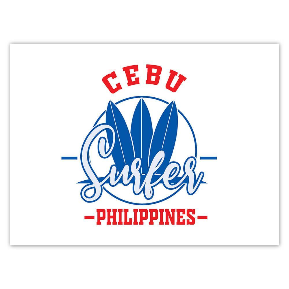 Cebu Surfer Philippines : Gift Sticker Tropical Beach Travel Vacation Surfing