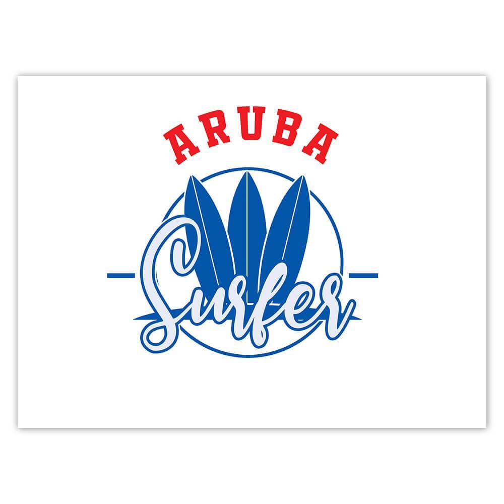 Aruba Surfer : Gift Sticker Tropical Beach Travel Vacation Surfing