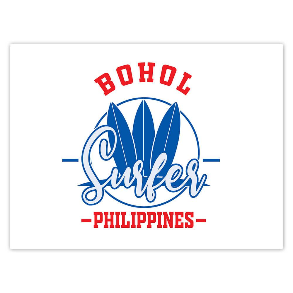 Bohol Surfer Philippines : Gift Sticker Tropical Beach Travel Vacation Surfing