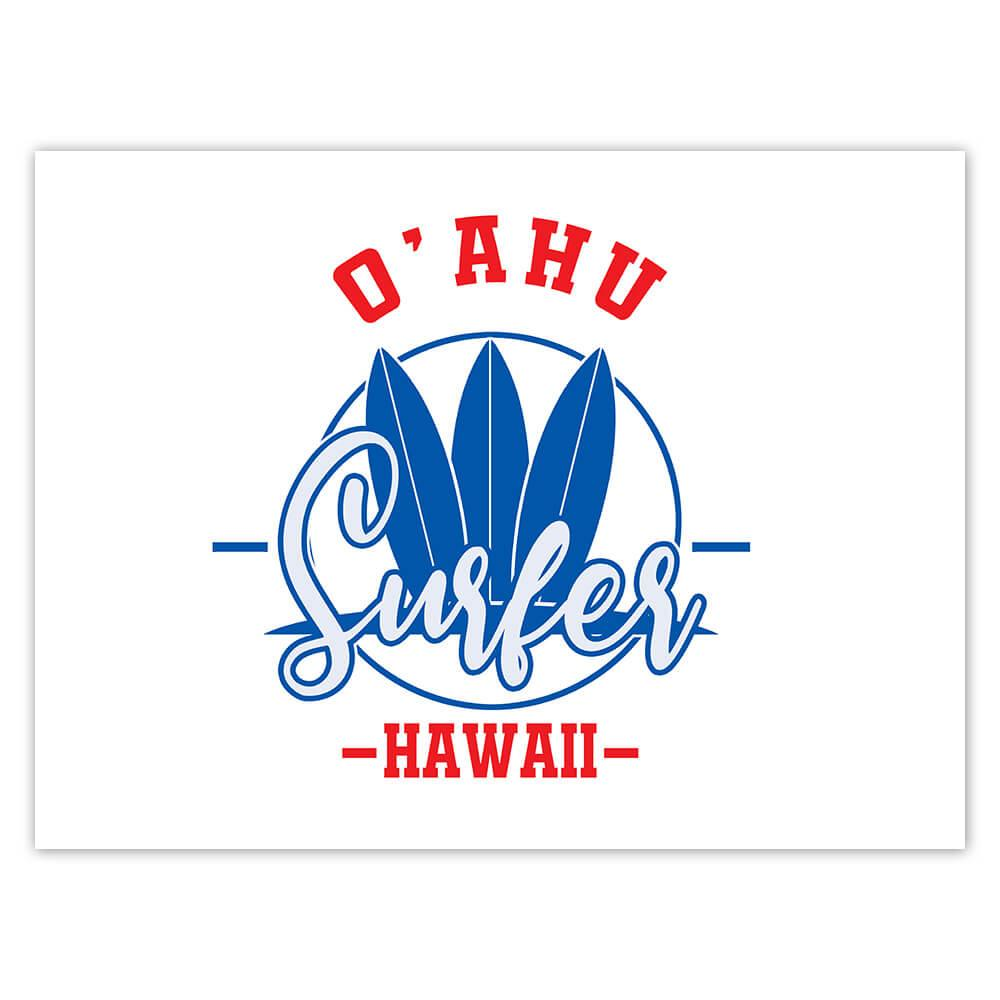 O'Ahu Surfer Hawaii : Gift Sticker Tropical Beach Travel Vacation Surfing
