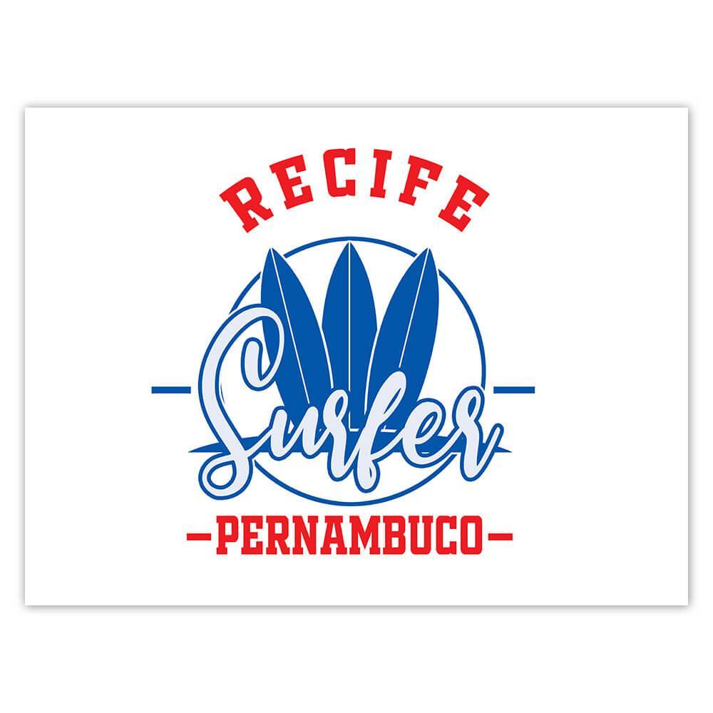 Recife Surfer Brazil : Gift Sticker Tropical Beach Travel Vacation Surfing
