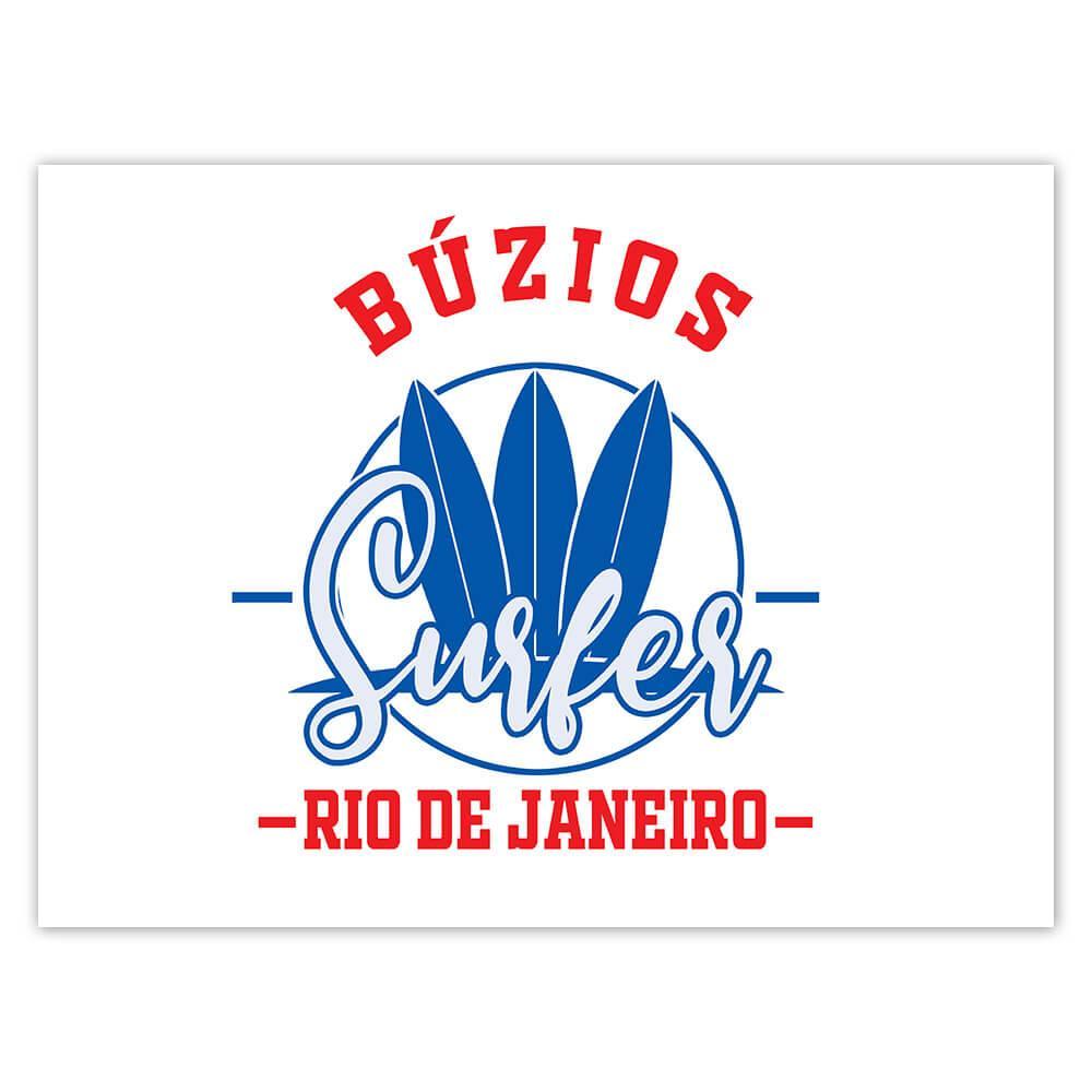Buzios Surfer Brazil : Gift Sticker Tropical Beach Travel Vacation Surfing