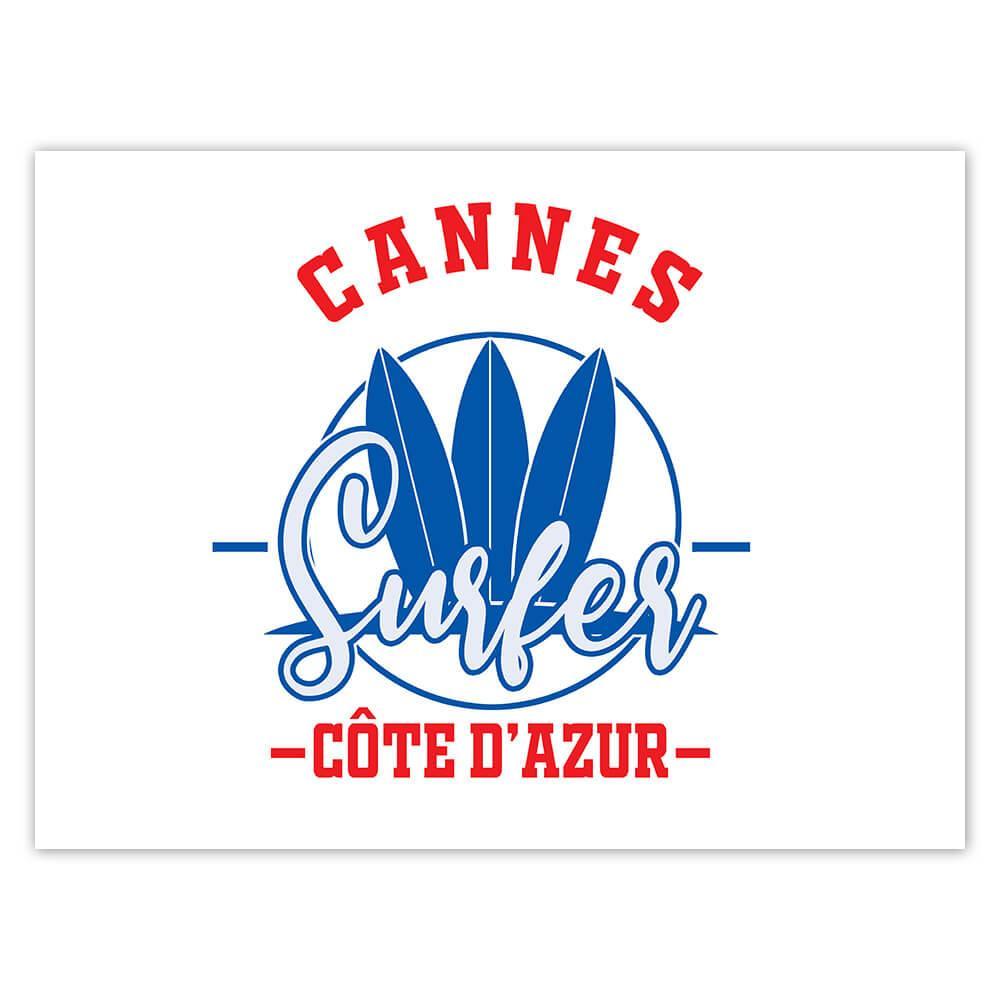 Cannes France : Gift Sticker Surfer Tropical Souvenir Travel