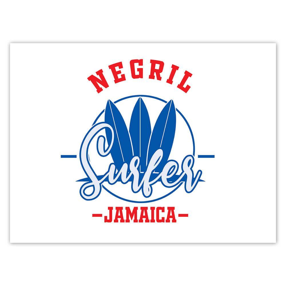 Negril Surfer Jamaica : Gift Sticker Tropical Beach Travel Vacation Surfing