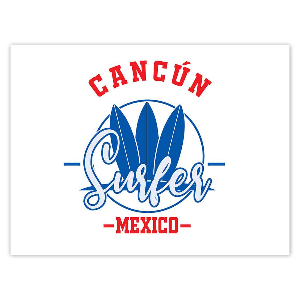Cancun Surfer Mexico : Gift Sticker Tropical Beach Travel Vacation Surfing