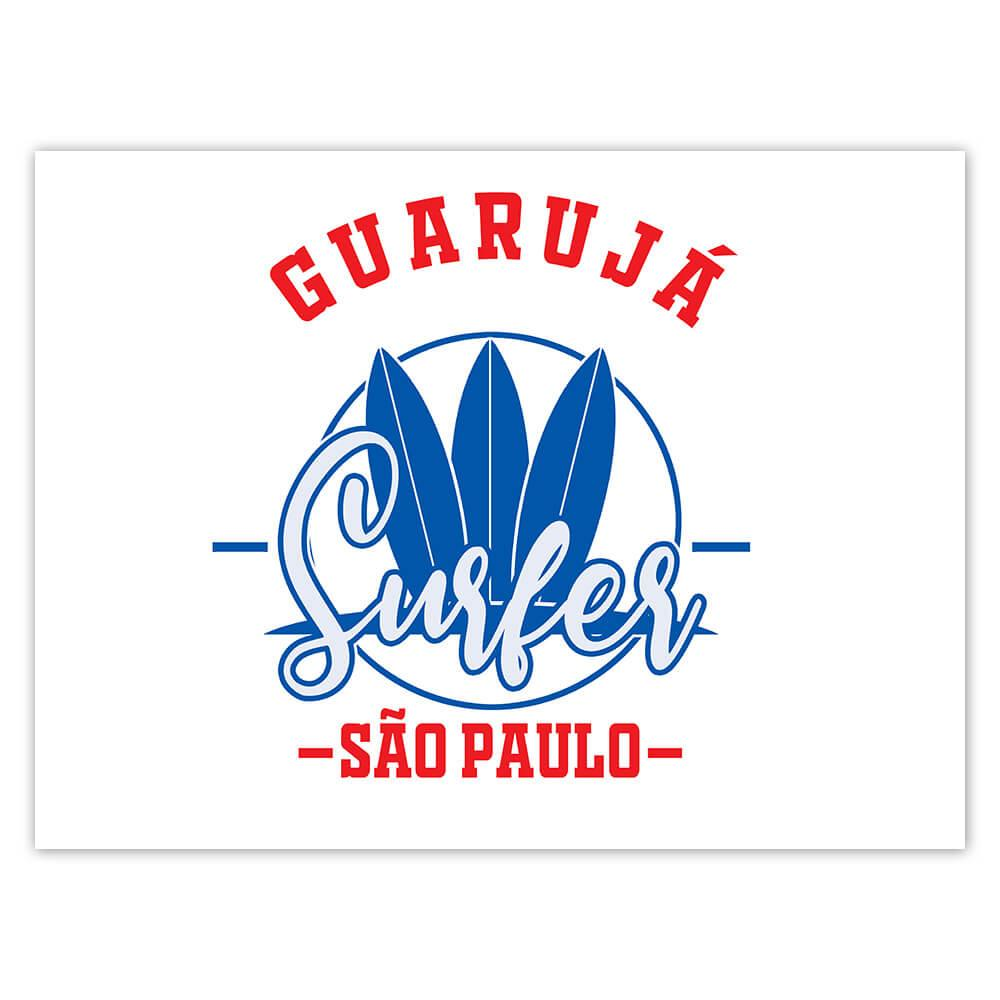 Guaruja Surfer Brazil : Gift Sticker Tropical Beach Travel Vacation Surfing