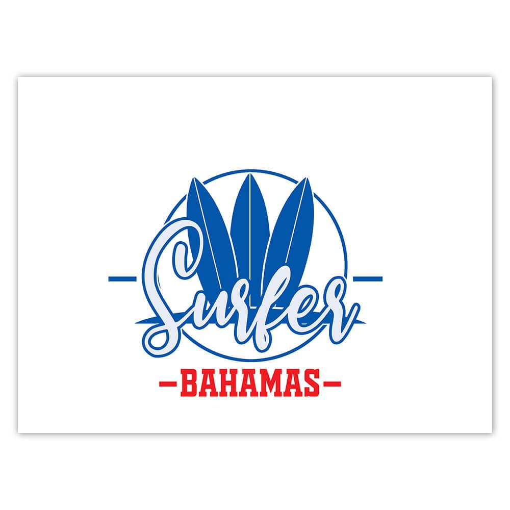 Bahamas Surfer : Gift Sticker Tropical Beach Travel Vacation Surfing