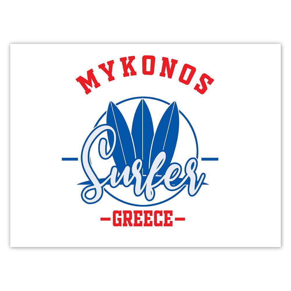 Mykonos Surfer Greece : Gift Sticker Tropical Beach Travel Vacation Surfing