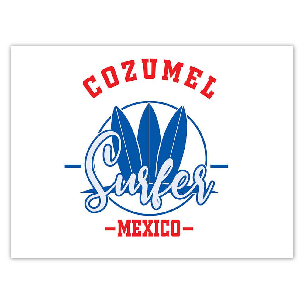 Cozumel Surfer Mexico : Gift Sticker Tropical Beach Travel Vacation Surfing