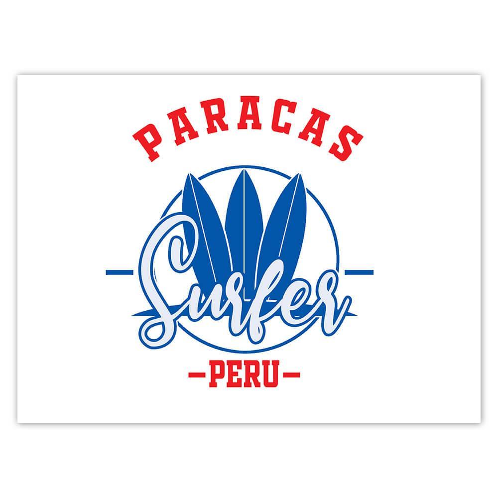 Paracas Surfer Peru : Gift Sticker Tropical Beach Travel Vacation Surfing