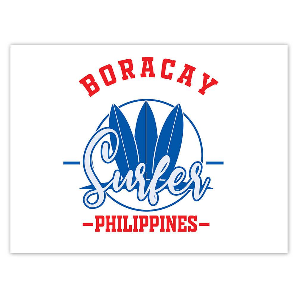 Boracay Surfer Philippines : Gift Sticker Tropical Beach Travel Vacation Surfing