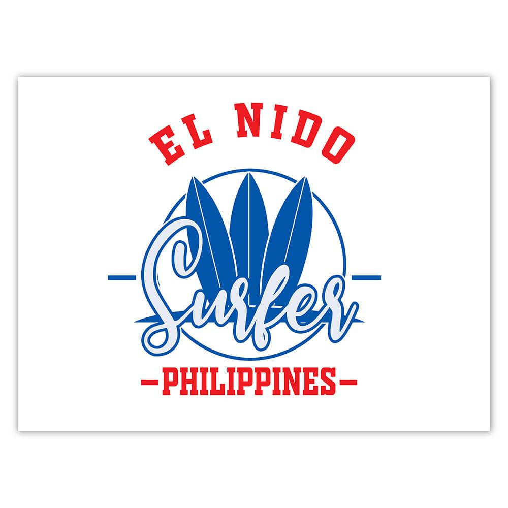 El Nido Surfer Philippines : Gift Sticker Tropical Beach Travel Vacation Surfing
