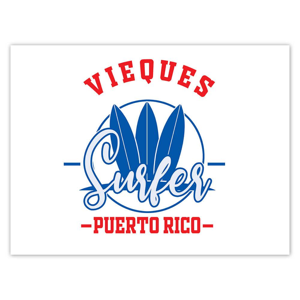 Vieques Surfer Puerto Rico USA : Gift Sticker Tropical Beach Travel Vacation Surfing